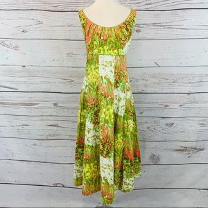New Directions green pink yellow floral fit flare